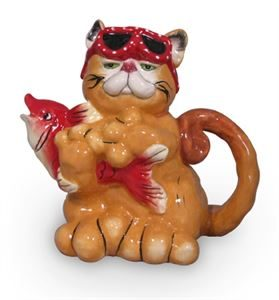 Marmalade Cat Catching Fish Teapot.