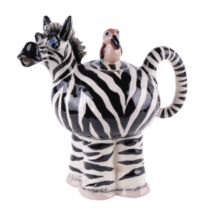 Lovely Zebra Teapot With Bird On Lid