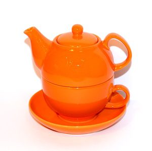 Ambrosia Elecktra Tea Pot With Cup and Saucer Orange