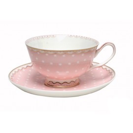 Christiana Polka Pink Cup And Saucer