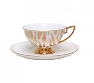 Christiana Vintage Zebra White Stripe Cup and Saucer