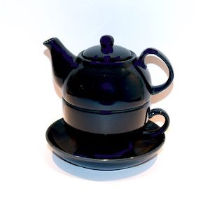 Ambrosia Elecktra Tea Pot With Cup and Saucer Navy