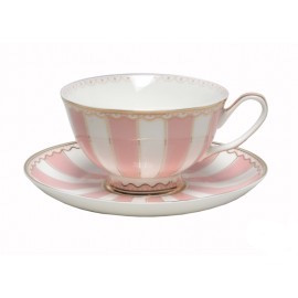 Christiana Vintage Pink Stripe Cup and Saucer