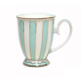 Christiana Teal And White Stripe Mug