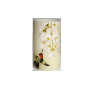 Led Decorative Pillar Candle Honeysuckle Pattern