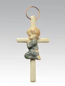 Boy Praying Ceramic Cross