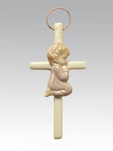 Girl Praying Ceramic Cross