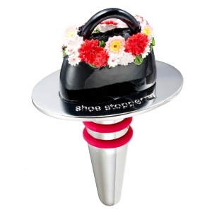 Black Bag with Flowers Wine Stopper