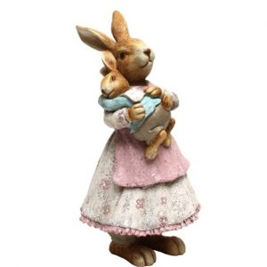 Bunny With Baby Boy Resin Figurine 26cm