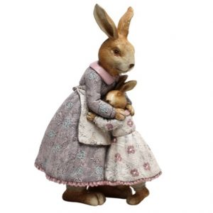 Bunny With Baby Girl Resin Figurine 26cm