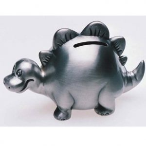 Pewter Dinosaur Money Box