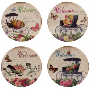 Ceramic Wagon Coasters Set of 4