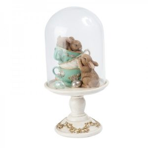 Tea Cup Bunnies In A Glass Dome