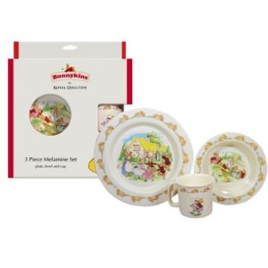 Royal Doultan Bunnykins 3 Piece Set Playing Design Red