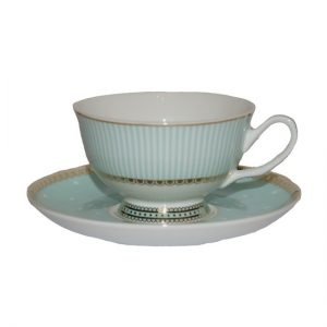 Christiana Miss Alice Cup And Saucer Green Stripe