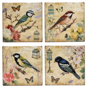 Ceramic Robin Bird Coasters Set of 4