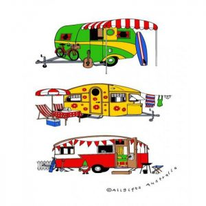 Retro Camping Caravans Cotton Tea Towel