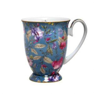 Vintage Floral Blue Pedestal Mug