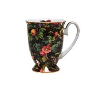 Floral Black Pedestal Mug
