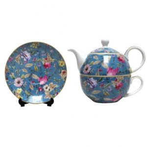 Vintage Floral Blue Tea For One