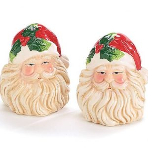 Santa Holly Salt and Pepper Shakers