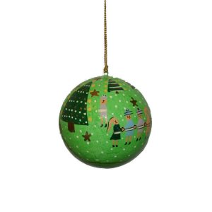 Green With Christmas Trees And People Design Bauble
