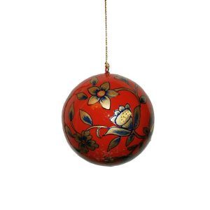 Red With Gold And Blue Floral Design Bauble