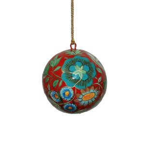 Red With Blue Flowers Bauble
