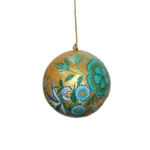 Gold With Blue Flowers Bauble