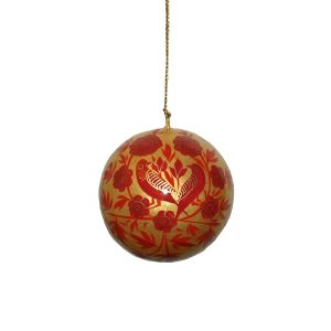Gold With Red Floral and Bird Design Bauble