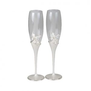 Butterfly Pearl Champagne Flutes