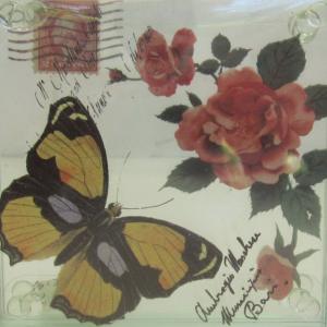 Butterfly Yellow And Rose Glass Coasters