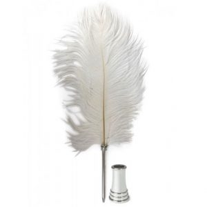 Feather Pen And Stand White