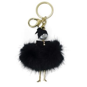 Fluffy Doll Black Bag Charm Key Holder