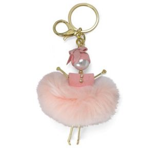 Fluffy Doll Pink Bag Charm Key Holder