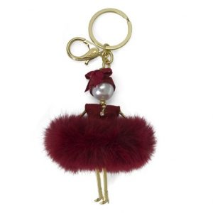Fluffy Doll Burgundy Bag Charm Key Holder