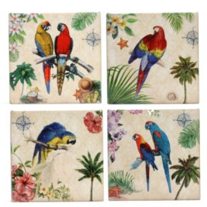 Ceramic Parrot Bird Coasters Set of 4