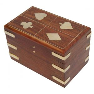 Wooden Playing Card Holder Case