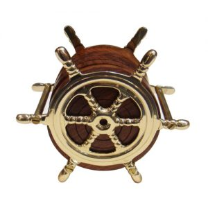 Ship Wheel Brass Coaster Set