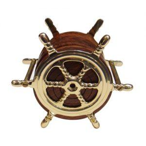 Ship Wheel Brass Coaster Set