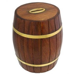 Wooden Barrel Shape Money Box