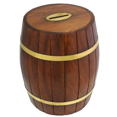 Wooden Barrel Shape Money Box Tilly S Timeless Treasures