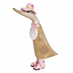 Mummy Duckling With Pink Hat and Wellys