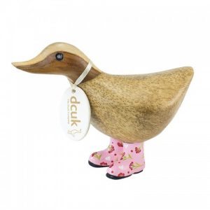 Ducky With Pink Floral Welly Boots