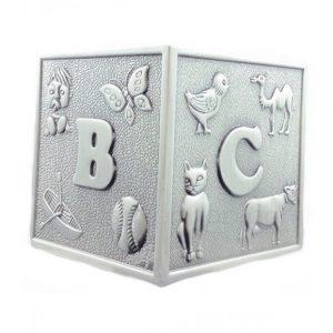 Pewter ABC Cube Money Box