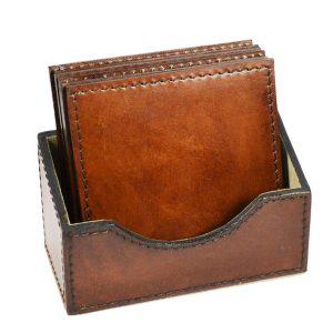 Square Leather Coasters Tan