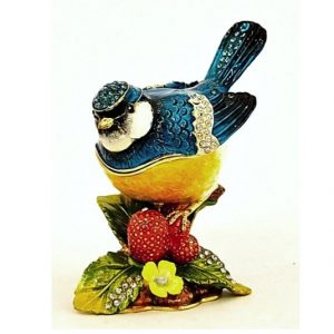 Blue Jay Bird On Berries Trinket Box