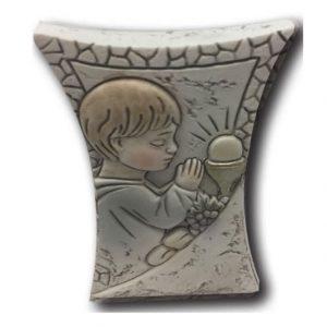 Communion Boy Resin Plaque