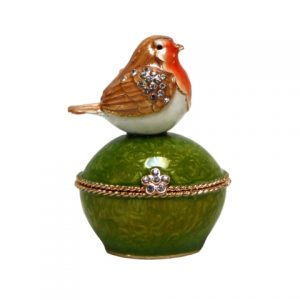 Orange Robin Sitting On Trinket Box