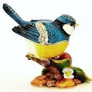 Blue Jay Bird On Berries Trinket Box